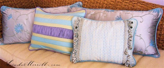 Linda Merrill design custom pillows lavender teal blue yellow
