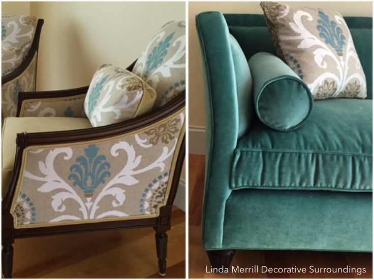 Linda Merrill design velvet sofa and custom pillows teal beige
