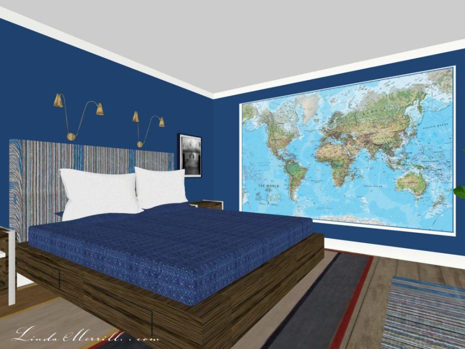 Linda Merrill The Coastal Collection Newburyport rug blue bedroom 2