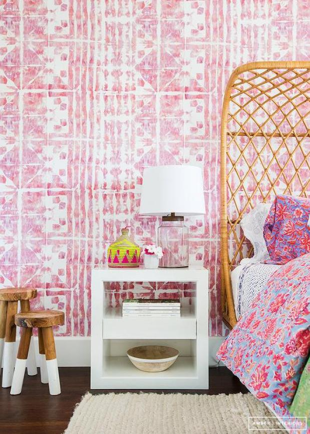 Amber Interior Design pink bedroom with rattan furniture serena lily NOT outdated trends