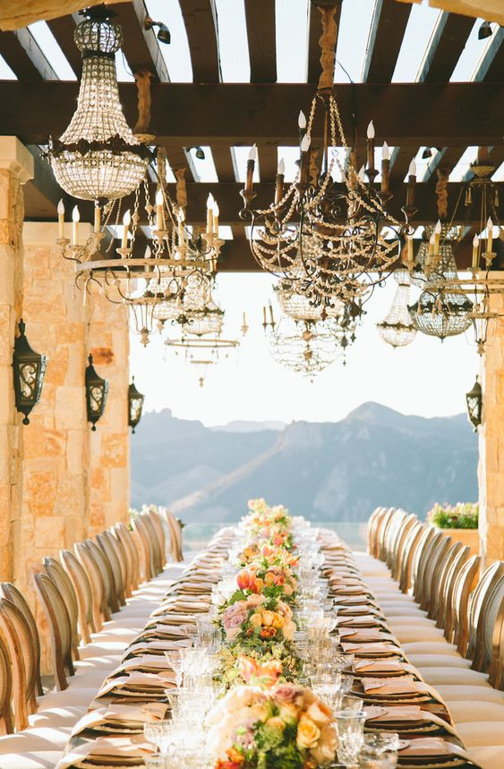 Casa de Perrin dinner party chandeliers barn wedding reception