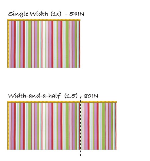Fabric single width and width-and-a-half