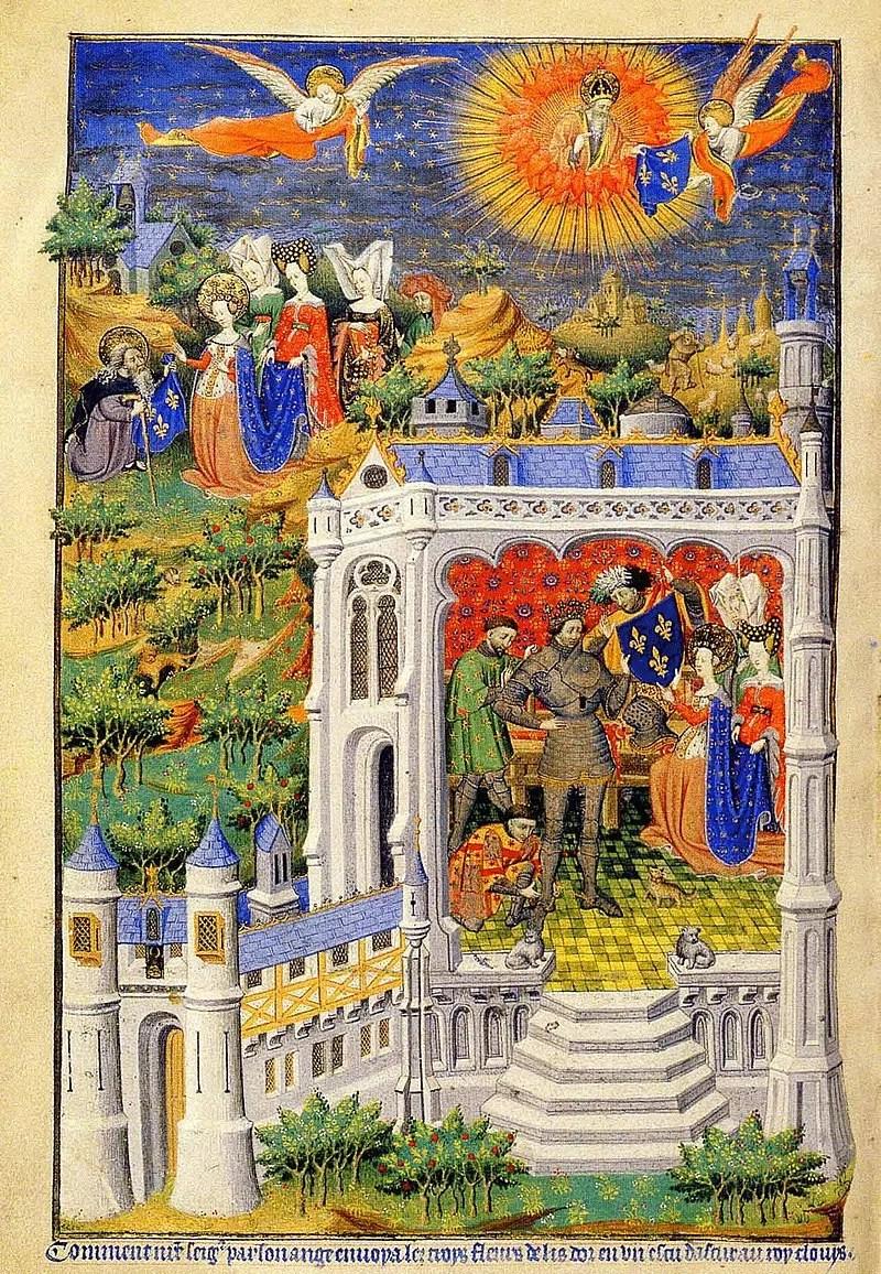 Fleur de lis Clovis_recevant_la_fleur_de_lys_-_XVe_siècle Met Gala