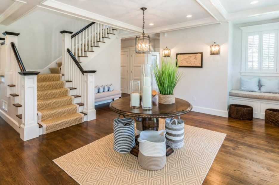 Interior Front hall white walls center table 3 Dunes Road Sandpiper Realty Edgartown property