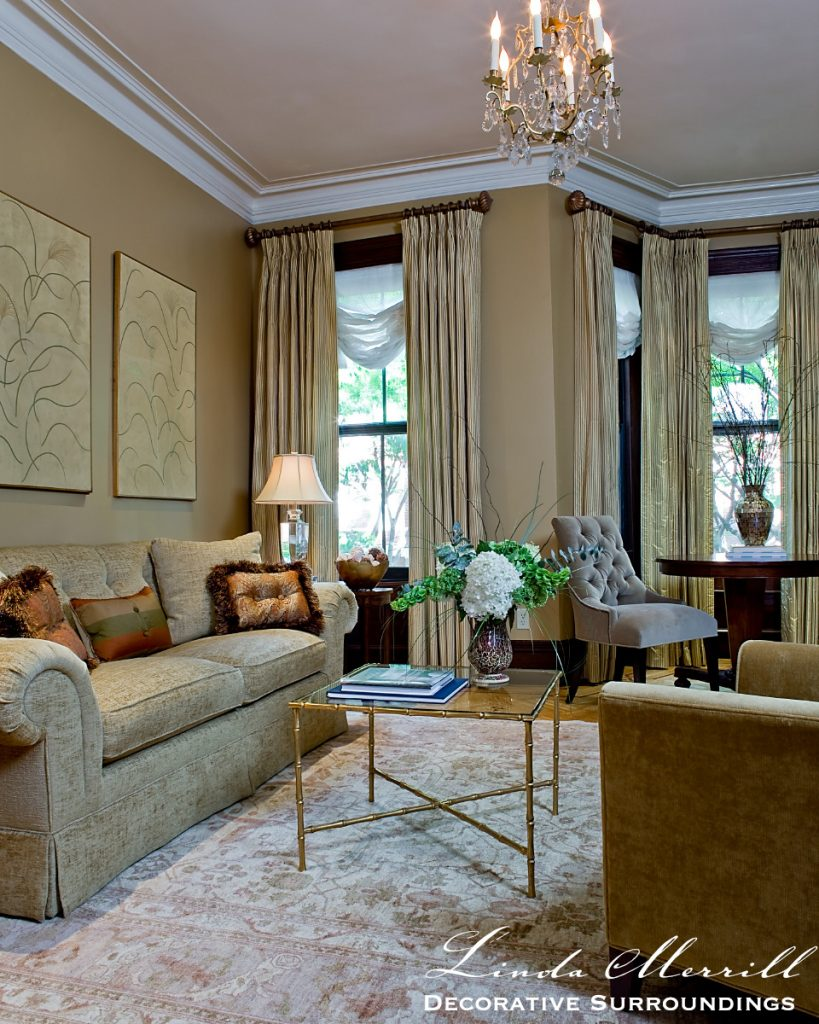 Linda Merrill Interior design Boston townhouse living room Michael J Lee photography drapery accessories