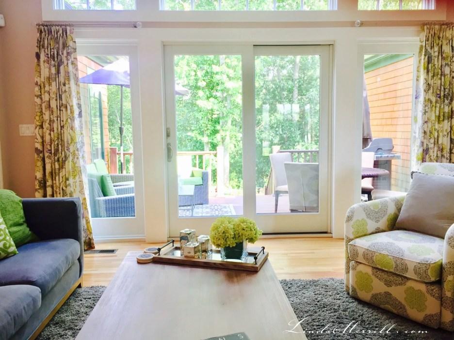Linda Merrill double width drapery panels on wide window