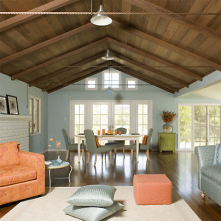 Mark English architects living room peach and blue