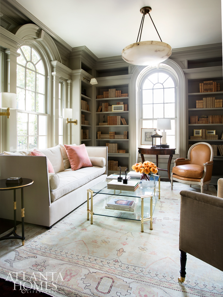 Suzanne Kasler Photographed by Erica George Dines Atlanta Home Buckhead Library gray peach