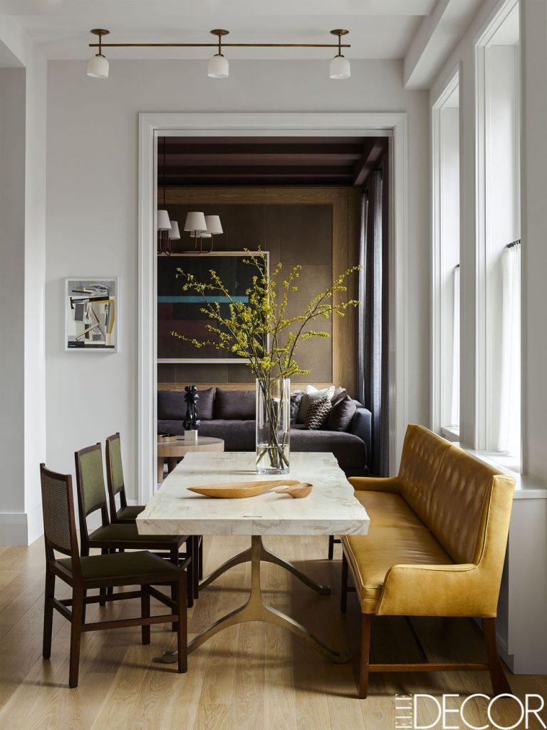 Kevin Dumais Apartment Eric Piasecki Photo Elle Decor Dining Banquettes  Settees