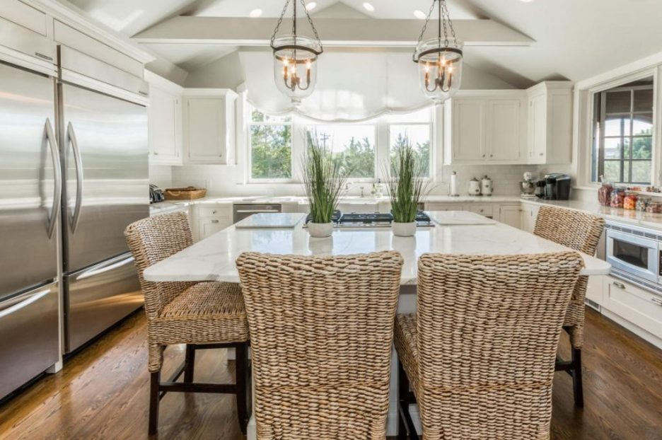 kitchen white center island rattan stools 3 Dunes Road MA Sandpiper Realty Edgartown property