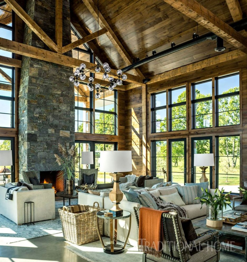 Vermont Farmhouse Fantasy Lillian August Traditional Home Living room barn details wood beams