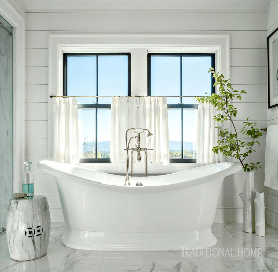 Vermont Farmhouse Fantasy Lillian August Traditional Home Bathroom freestanding tub