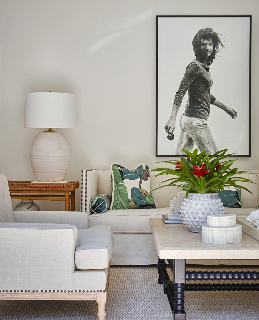 Lindsey Lane Design White Palm Beach Living Room Jackie Kennedy Onassis Famous Faces