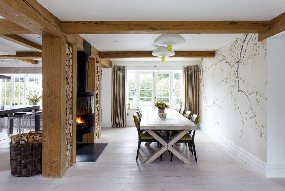 Andreas Mikkel Hansen photographer white dining room log walls open floor plan