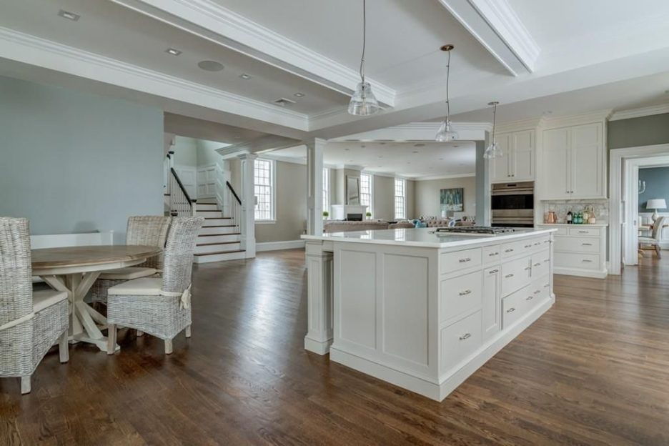 Hingham MA church conversion open floor plan kitchen and family room