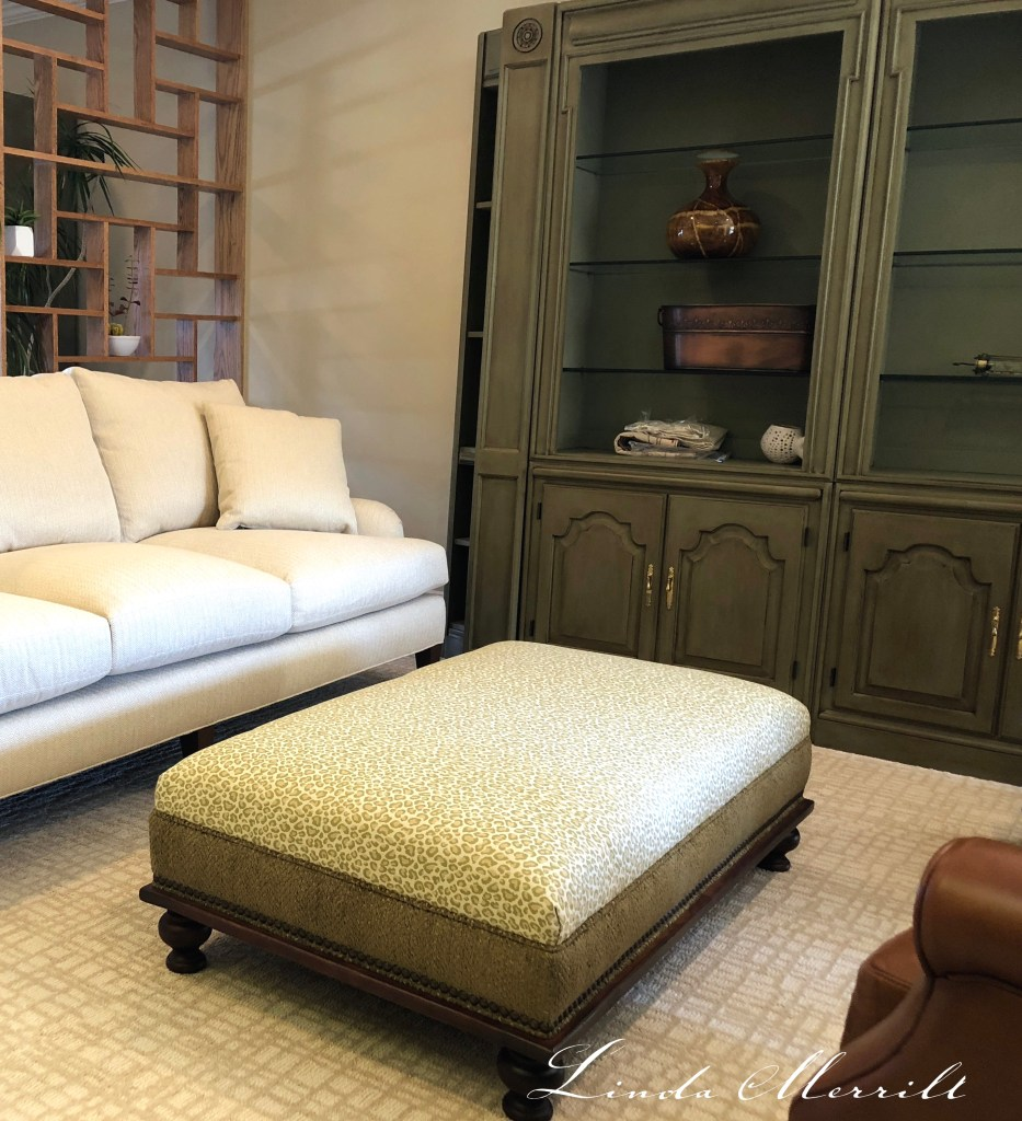 Linda Merrill design sitting room library DIY paint chalk paint bookcase cabinet Annie Sloane chateau gray