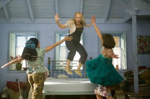Mamma Mia Meryl Streep Julie Walters Christine Baranski singing in blue bedroom