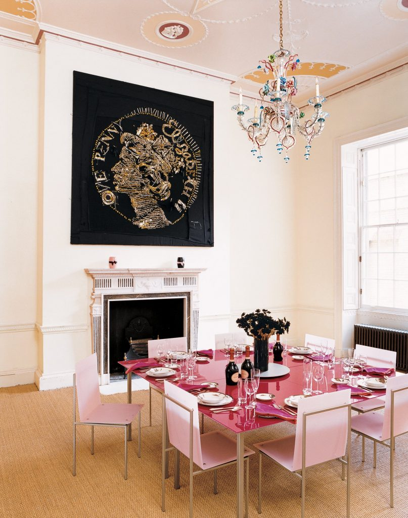 Pink and yellow dining room Queen Elizabeth Famous Faces