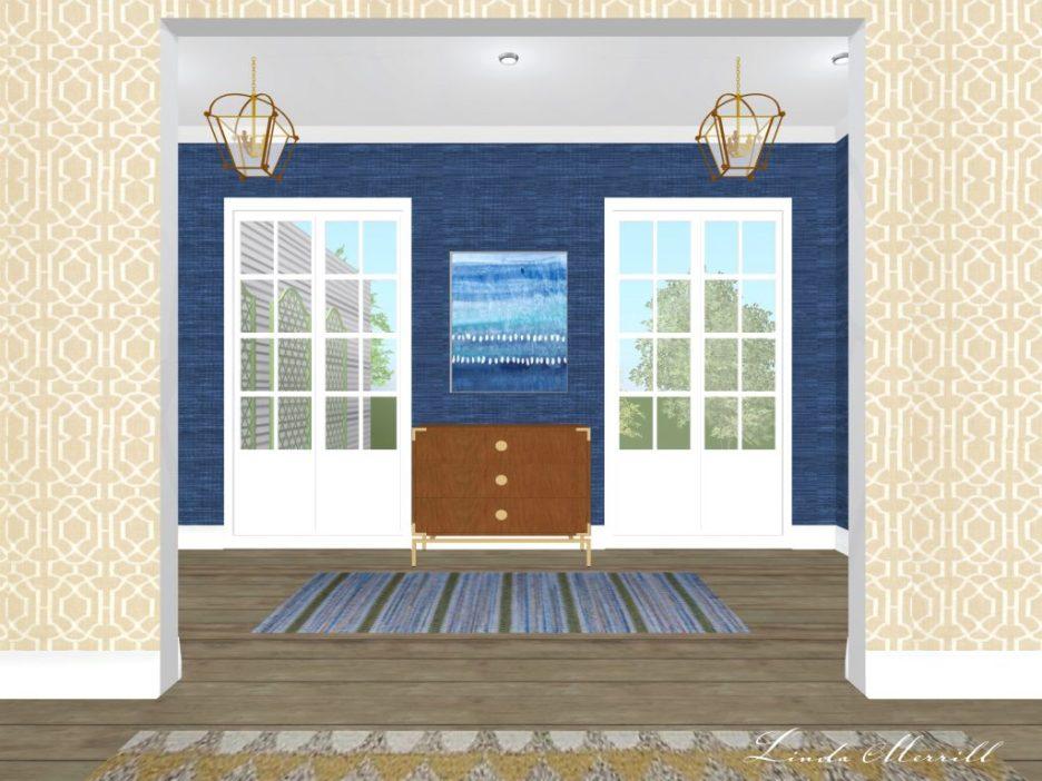 Linda Merrill rendering hallway runner blue grasscloth no accessories