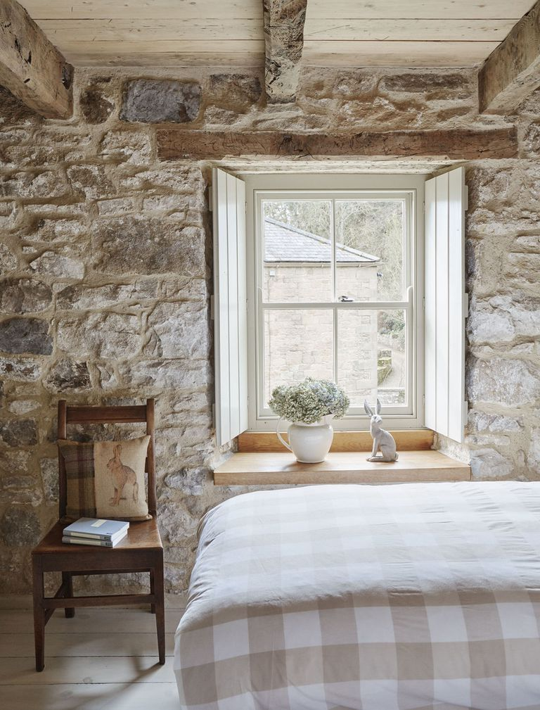 Tudor stone cottage bastle photography Brent Darby bedroom charming stone cottage