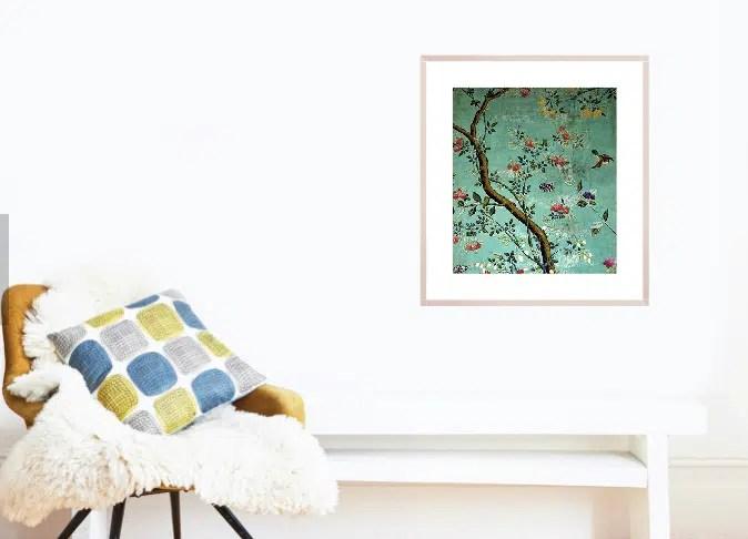 V&A Chinoiserie wallpaper art print sharp objects