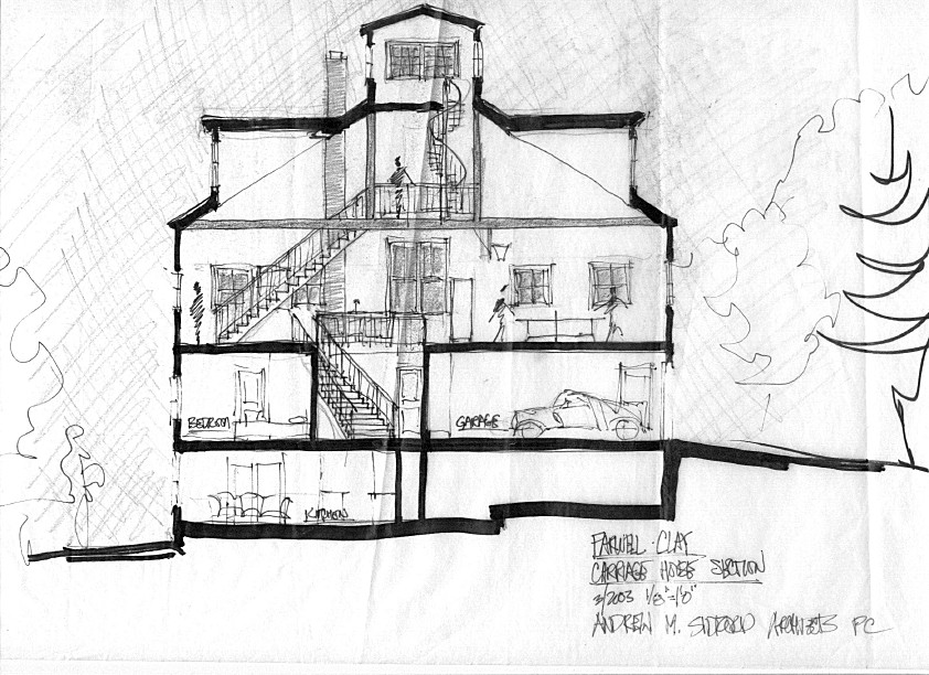 Newburyport Modern carriage house conversion Andrew Sidford Architect sketch