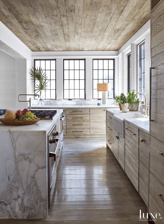 Jeffrey Dungan design Luxe Interiors Rustic Kitchen
