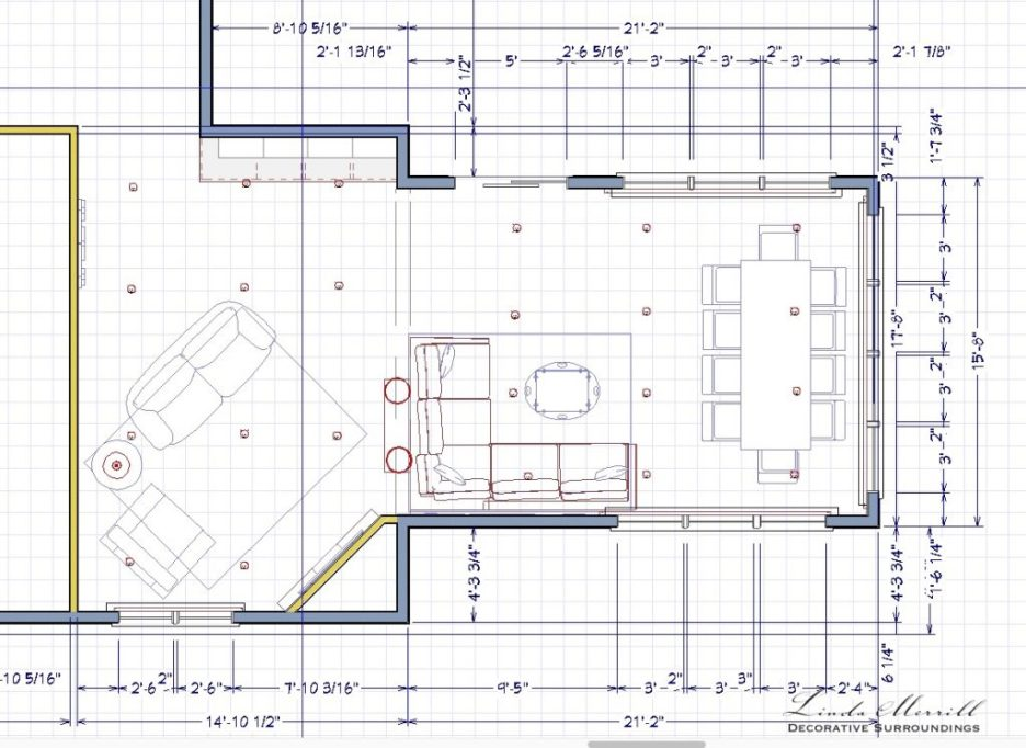 Linda Merrill interior design renderings floorplan sunroom family room 1