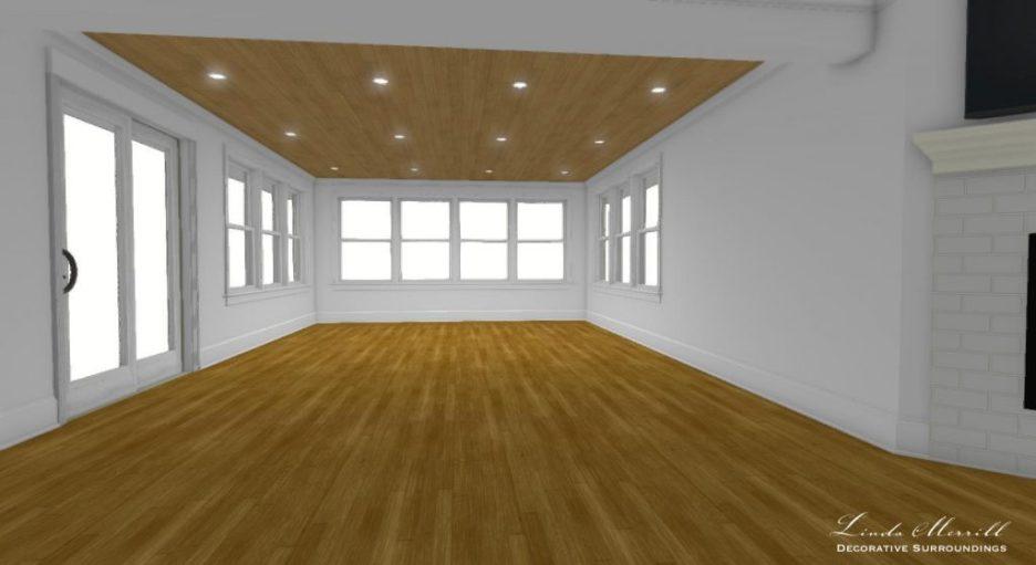 Linda Merrill interior design renderings sunroom family room empty room 1