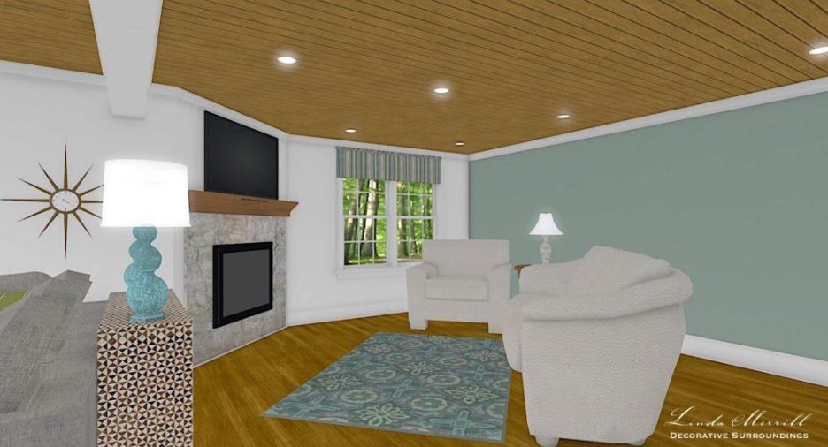 Linda Merrill interior design renderings sunroom family room room 5