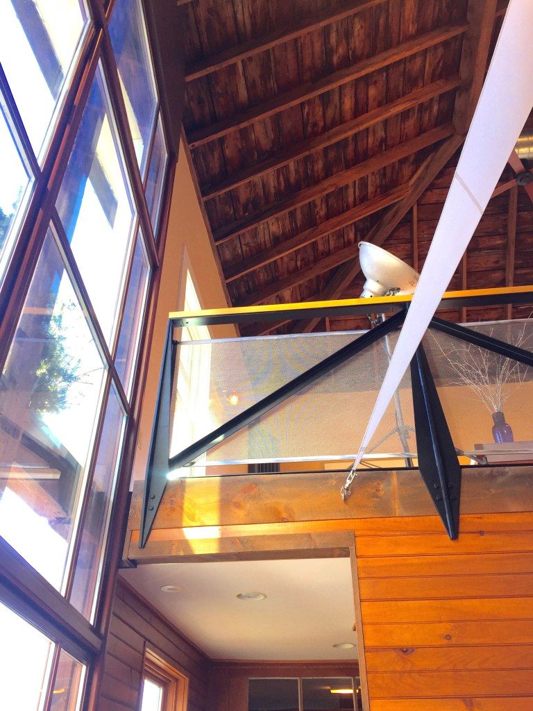 Newburyport modern carriage house conversion Andrew Sidford architect Linda Merrill photo interior looking up 2