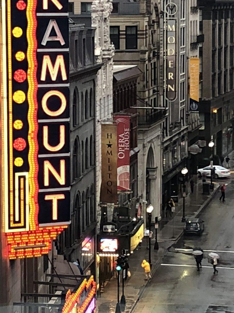 Linda Merrill staycation Boston theater district Hamilton