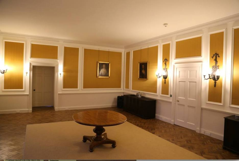 Ardgowan Estate Dining Room yellow gold room parquet floor Ordeal by Innocence