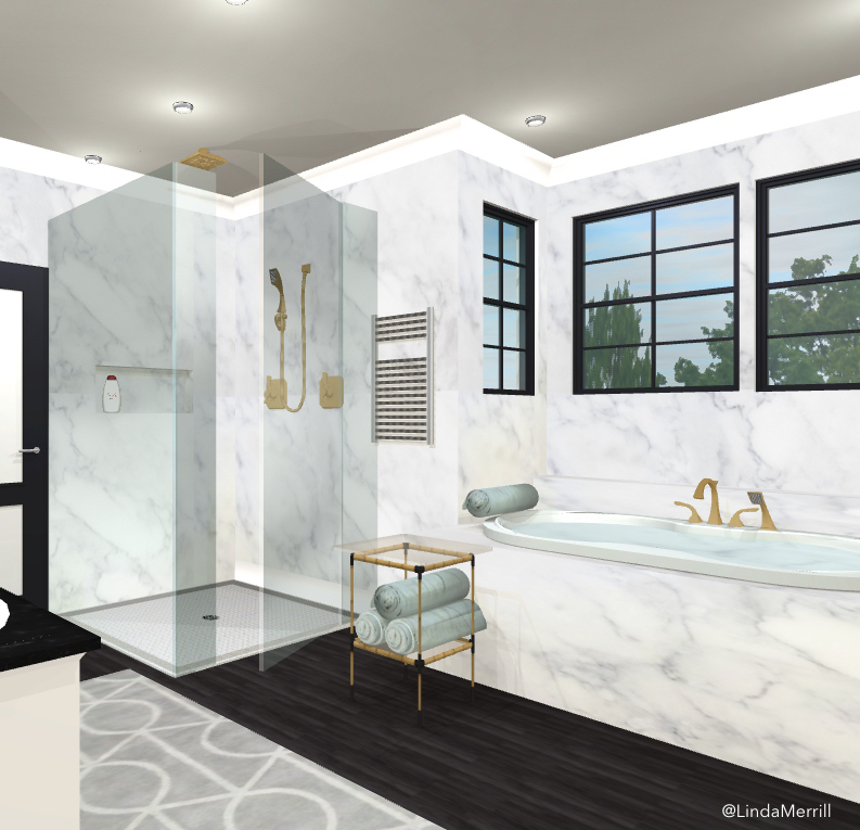 Design Linda Merrill design rendering dream bathroom tiny tables side tables