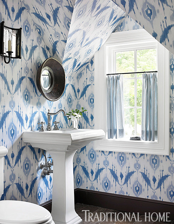 Design Will Huff and Heather Zarrett Dewberry Photo- Emily Jenkins Followill for Traditional Home ® bathroom Wallpaper ceilings angles