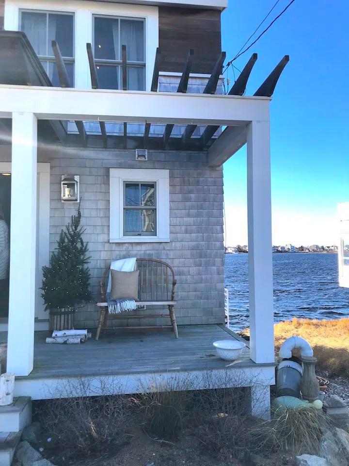 Plum Island waterfront porch Newburyport Christmas decorating house tour 2018
