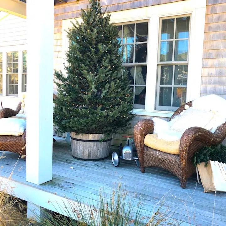 Plum Island Porch tree Newburyport Christmas decorating house tour 2018