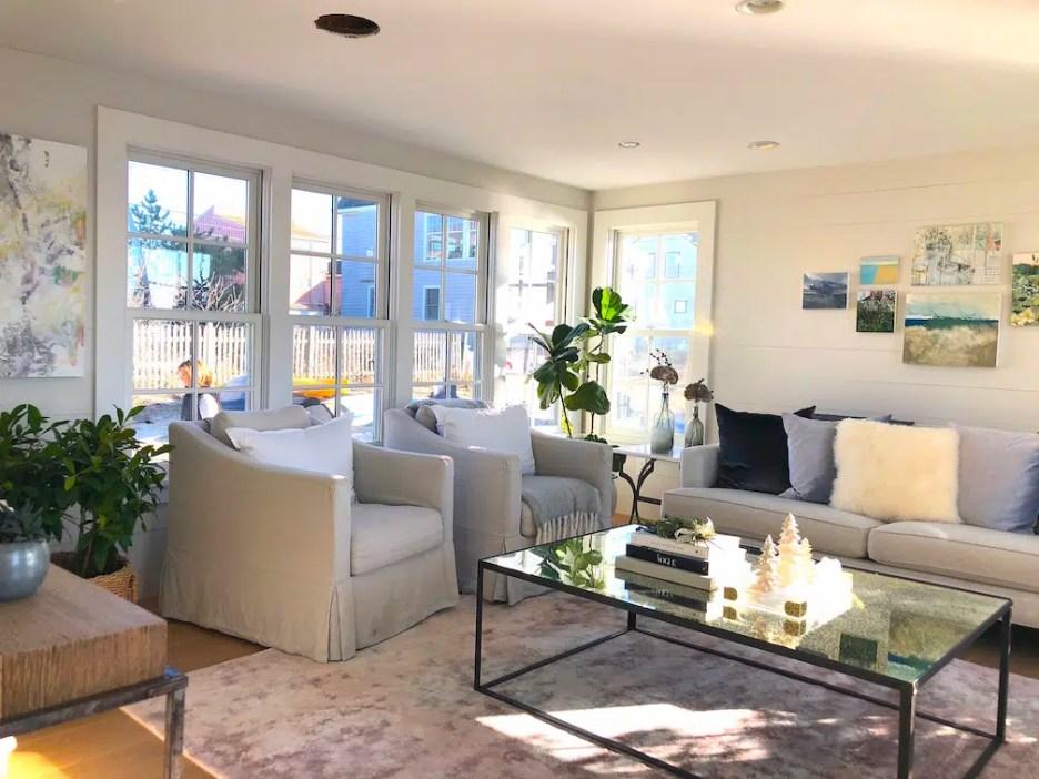 Plum Island Living Room wide Newburyport Christmas decorating house tour 2018