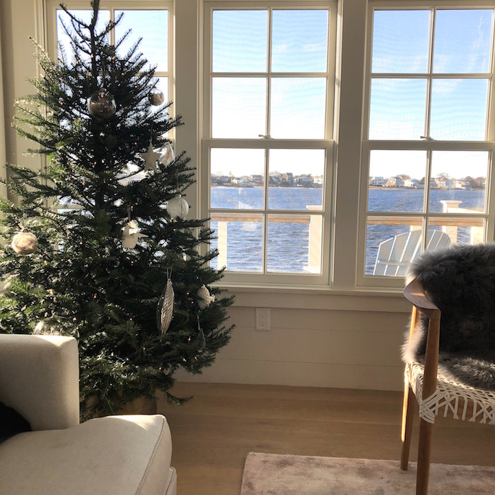 Plum Island living room waterview Newburyport Christmas decorating house tour 2018