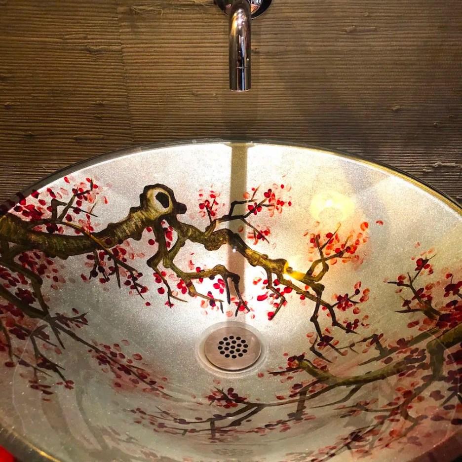 212 High Street bathroom cherry blossom vessel sink christmas Holiday House Tour 2018