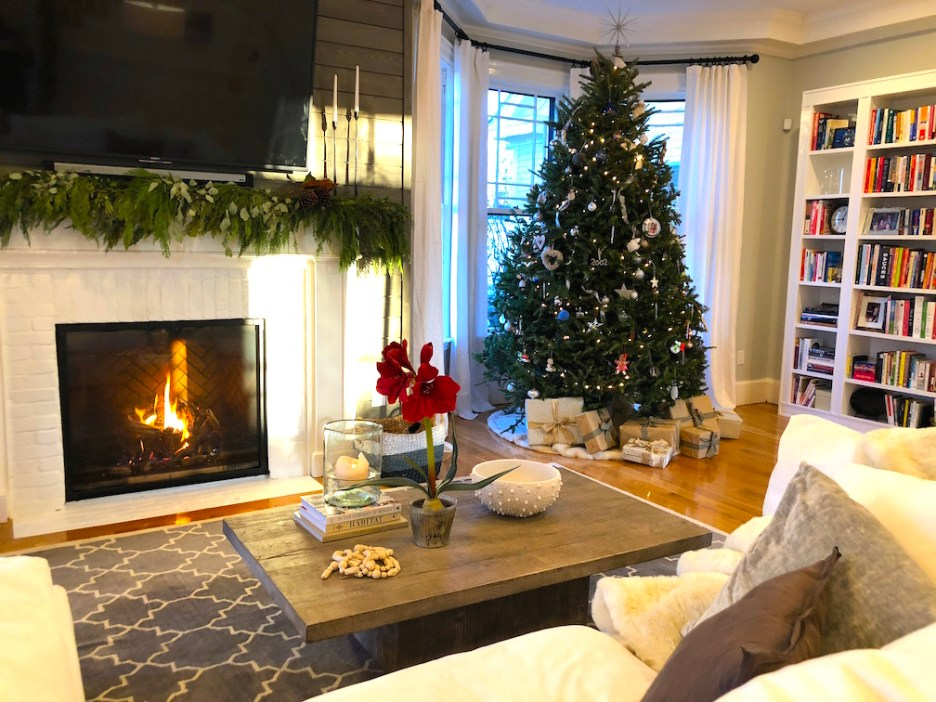 Pond Street play room under stairs pink purple tinsel tree Newburyport Christmas decorating house tour 2018