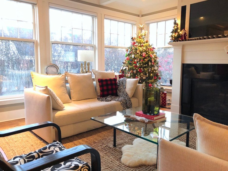 288 High Street Sunroom white sofa Christmas Holiday House Tour 2018