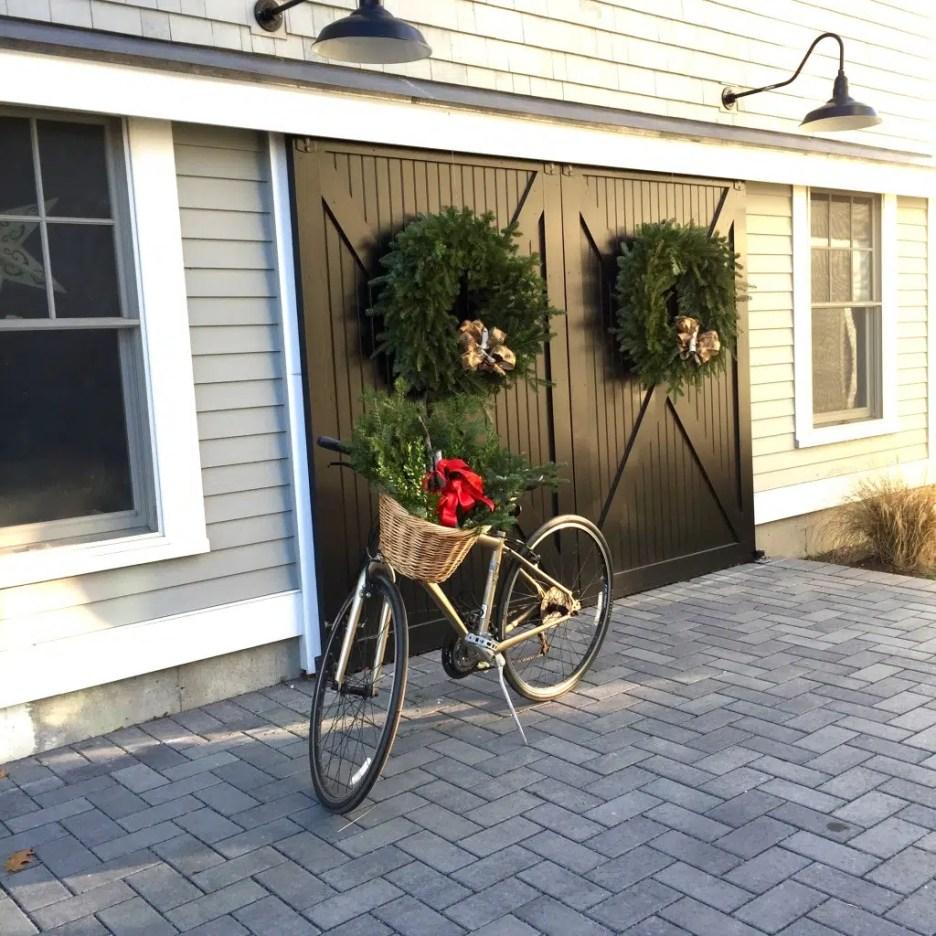 Newburyport Christmas barn doors bicycle decorating