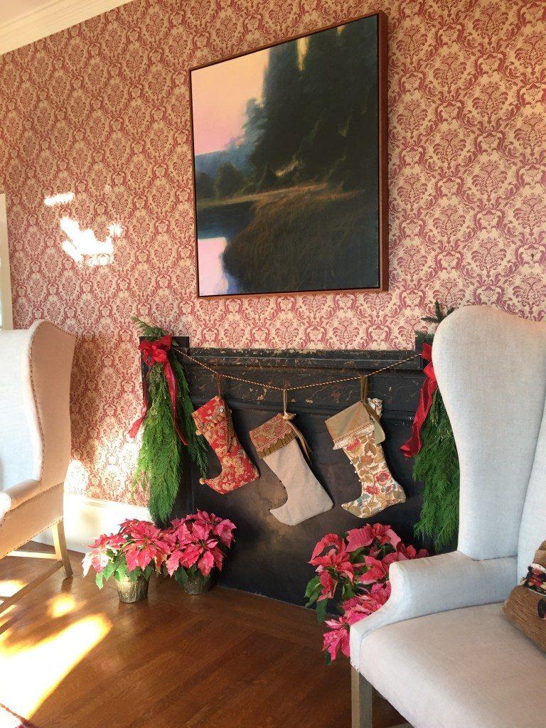 Newburyport christmas tour pink wallpaper antique house fireplace stockings