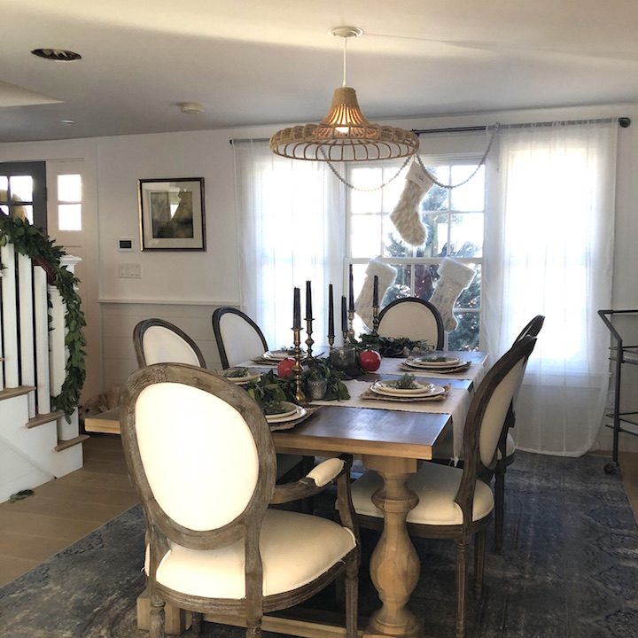 Plum Island Dining Room table Newburyport Christmas decorating house tour 2018
