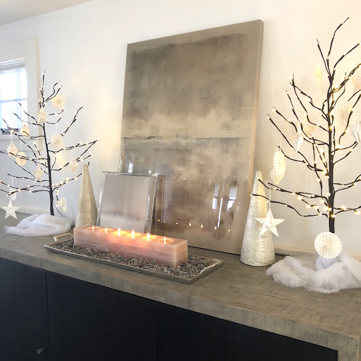 Plum Island Dining Room sideboard Newburyport Christmas decorating house tour 2018