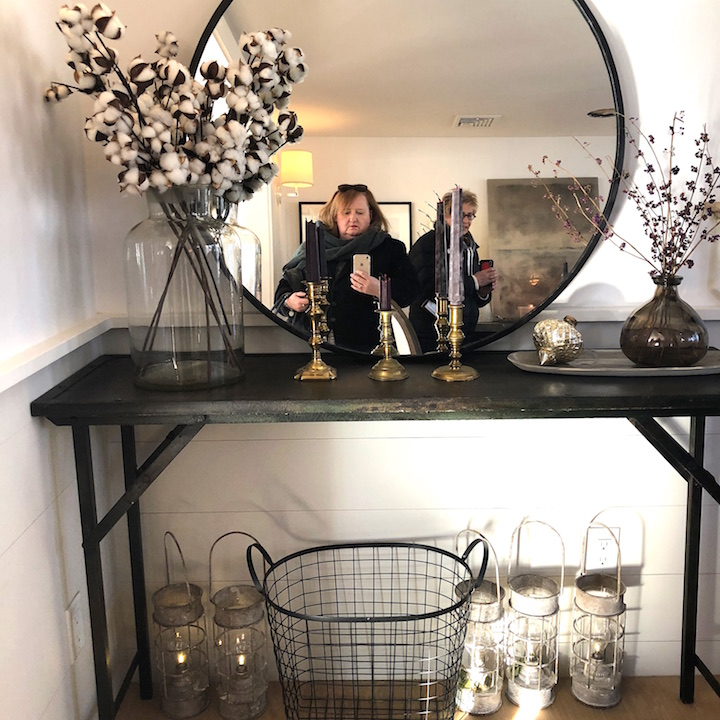 Plum Island Dining room sideboard mirror peek-a-boo Newburyport Christmas decorating house tour 2018