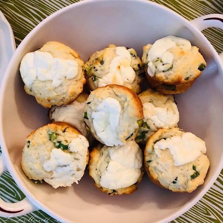 Linda Merrill Ladies High Tea goat cheese scallion muffins