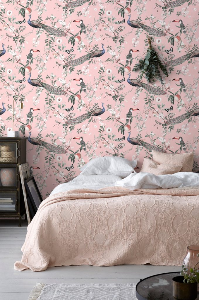 cherry blossom wall decor wallpaper pink