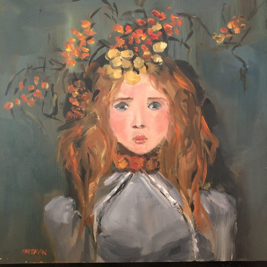Pamela Copeman Art Girl with floral crown